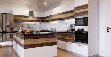 Двухцветные кухонные гарнитуры в интерьере