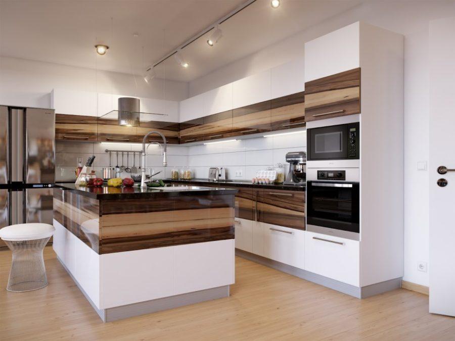 Двухцветные кухонные гарнитуры - Фото 27
