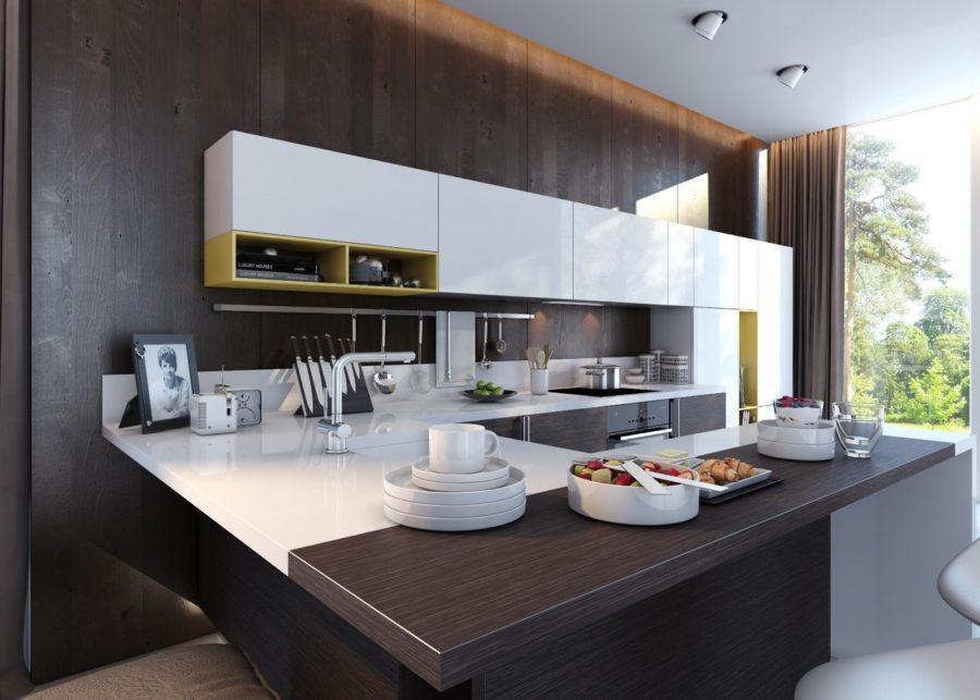 Двухцветные кухонные гарнитуры - Фото 30