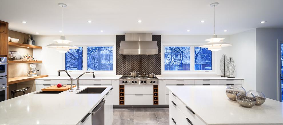 Элегантный дизайн интерьера кухни в стиле модерн от Astro Design Centre