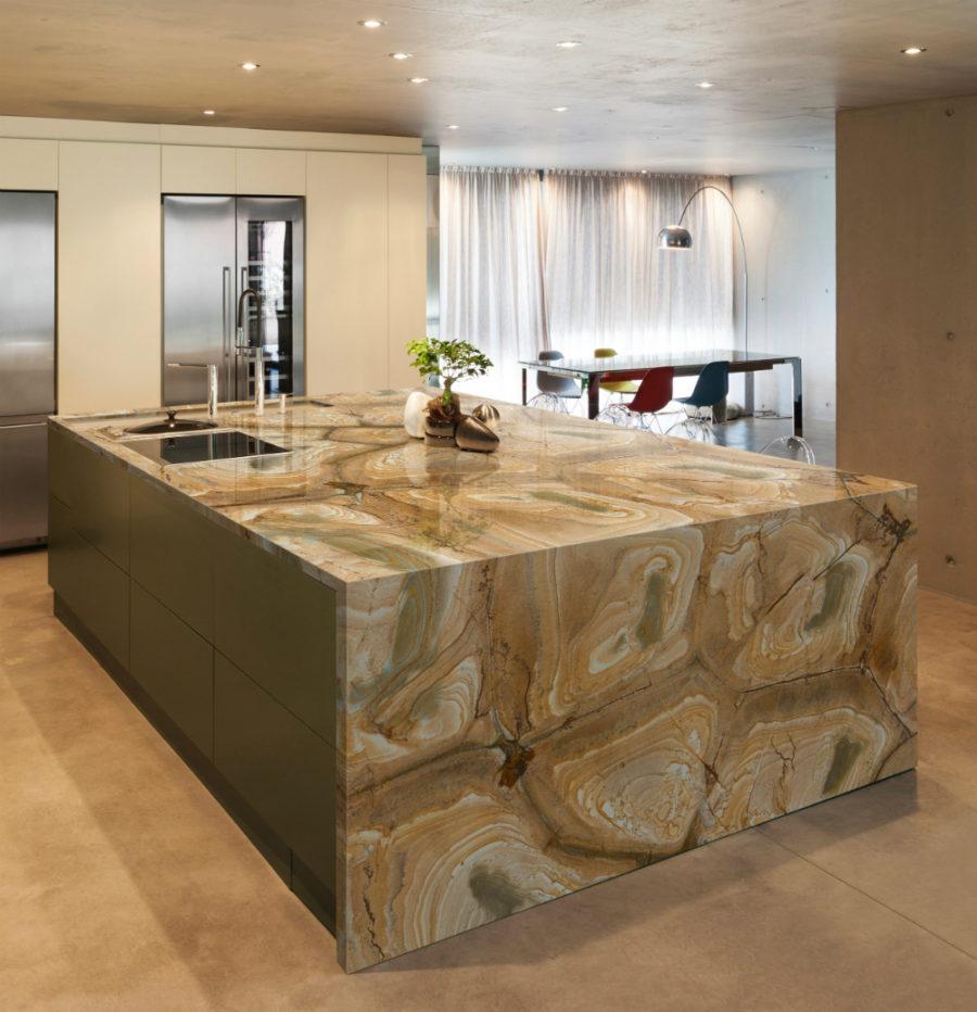 Элегантный дизайн кухонной столешницы для острова - вариант из гранита
