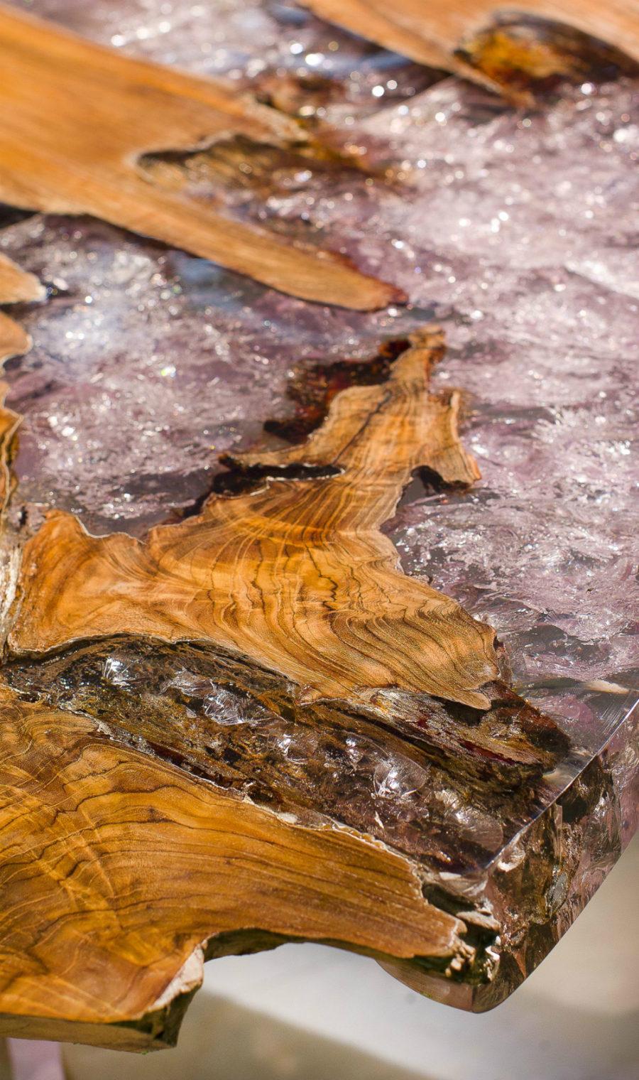 Элегантный дизайн кухонной столешницы для острова - обработанная древесина