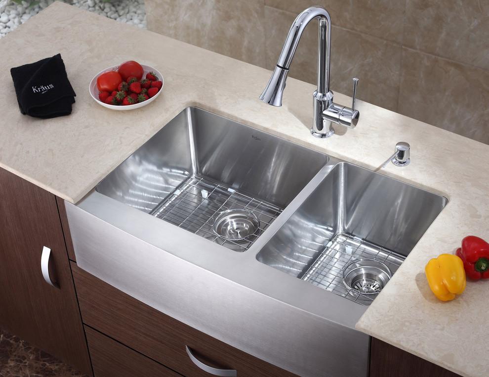 Стильный дуэт смесителя и раковины в интерьере кухни от ExpressDecor