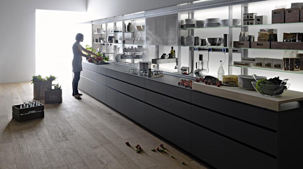 Функциональная мебель для кухни в сером цвете - Фото 1