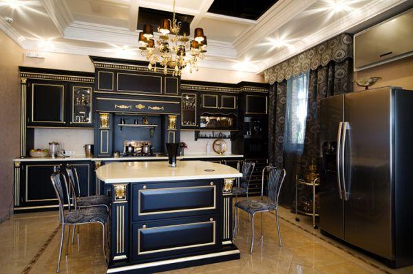 Золотые акценты в интерьере чёрной кухни