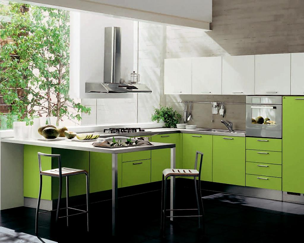 Впечатляющий дизайн интерьера кухни в зелёной гамме