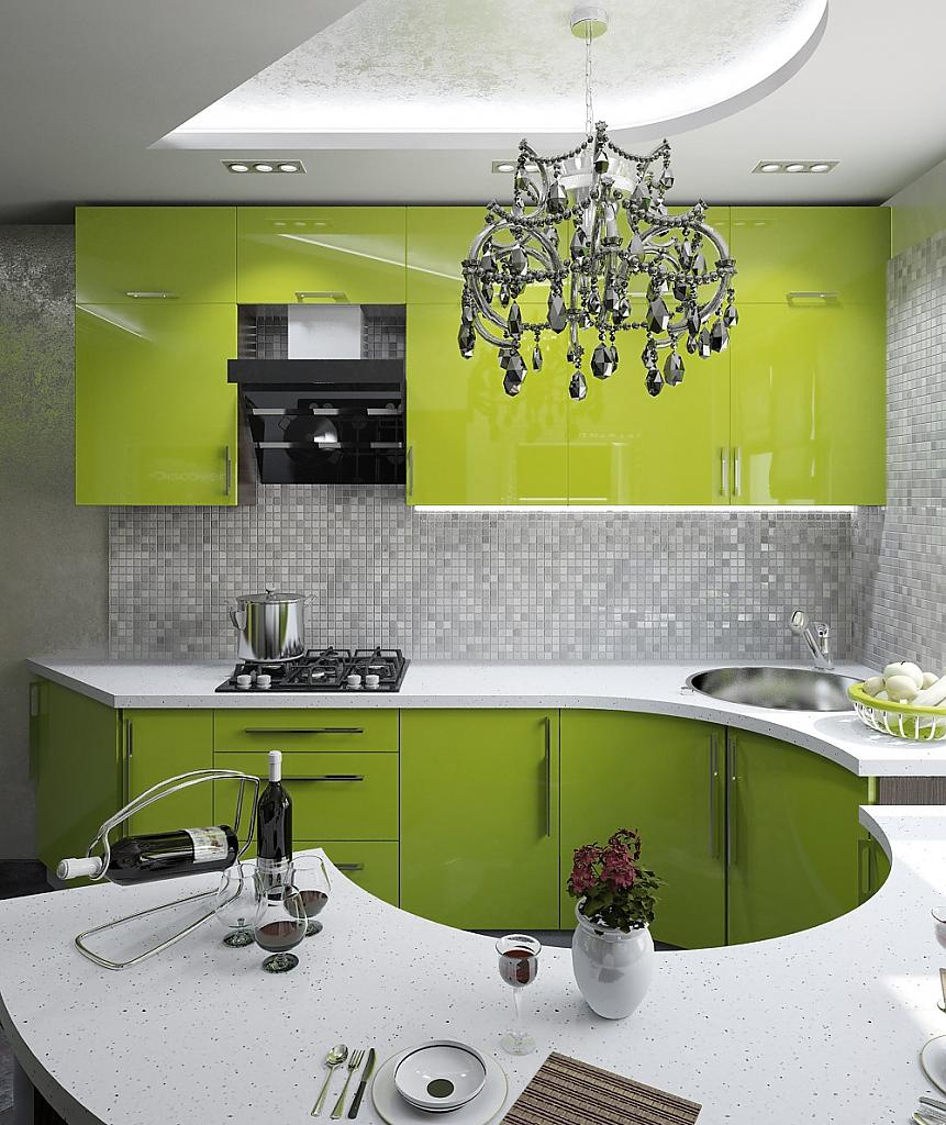 Зелёная кухня с круглой столешницей