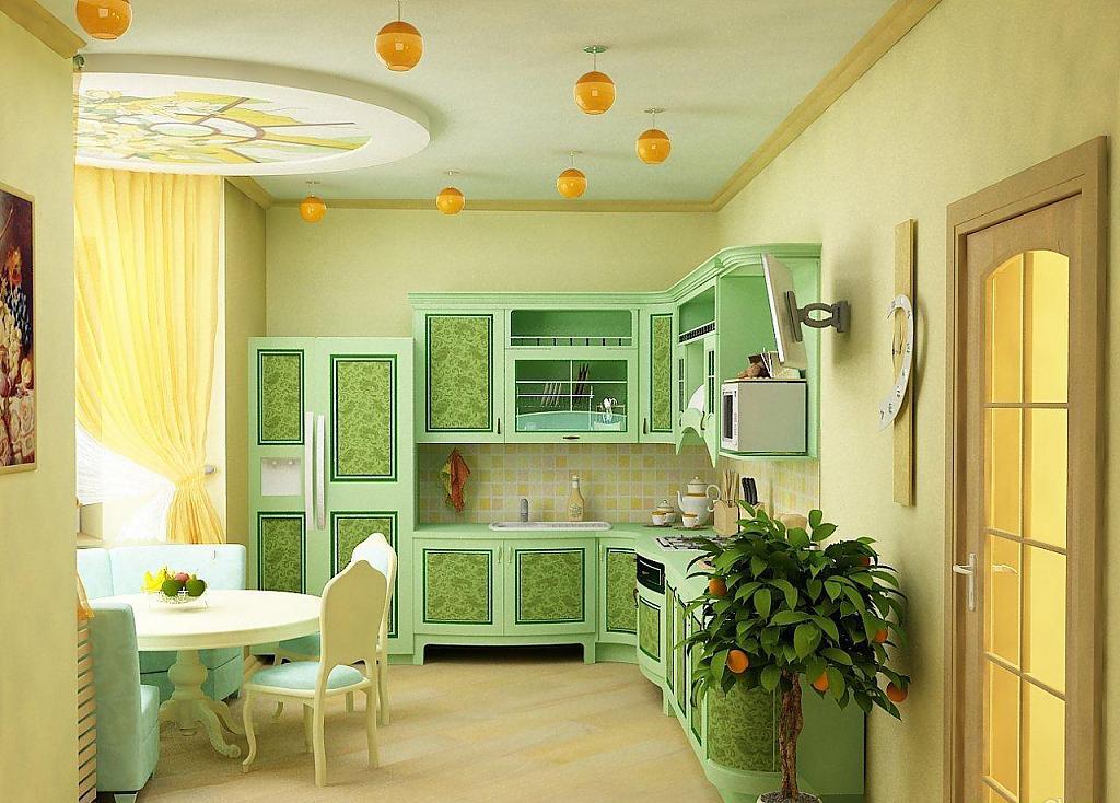 Зелёная кухня с уютной столовой