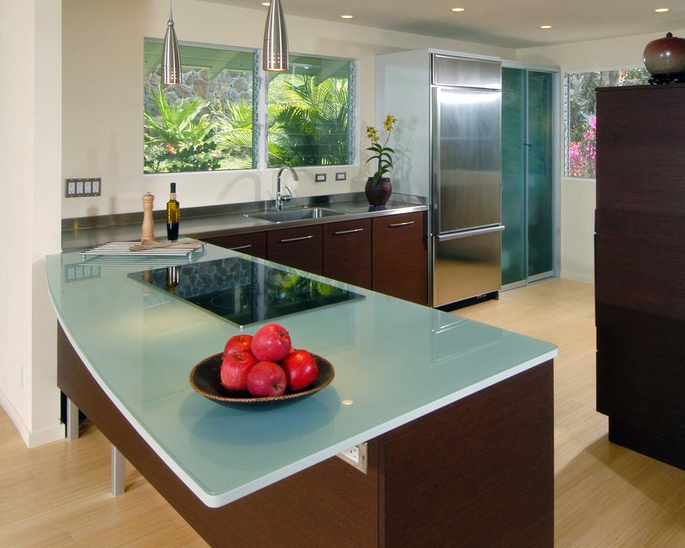Стеклянная столешница кухонного фартука светло-зелёного цвета