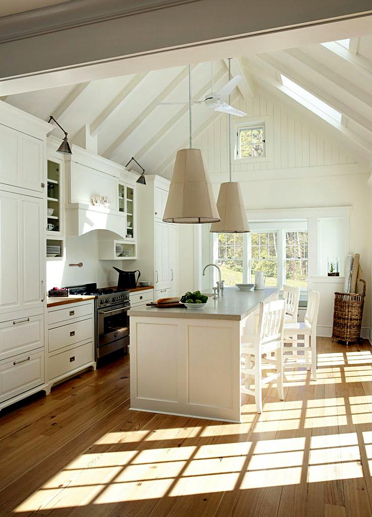 Уникальные подвесные светильники в интерьере кухни