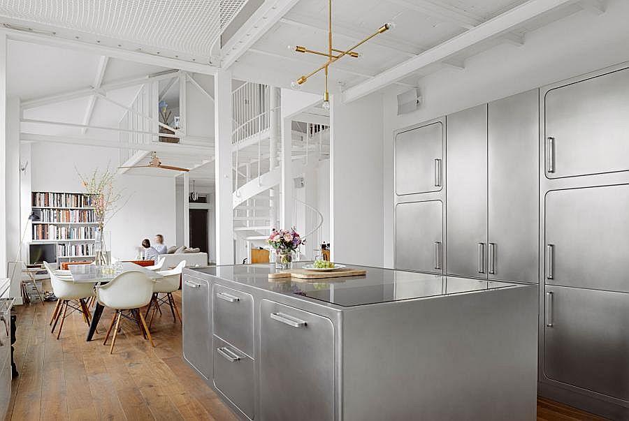 Идеальная кухня с металлическим гарнитуром