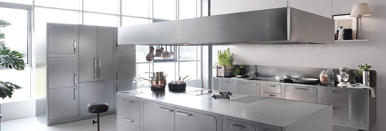 Дизайн стального гарнитура в интерьере кухни