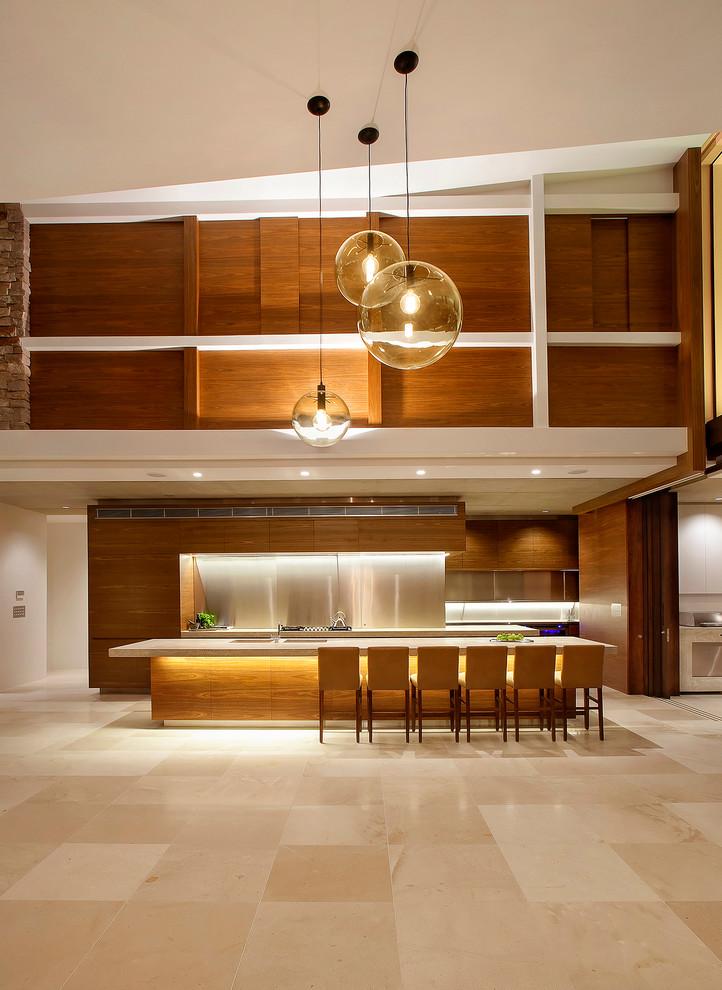 Идеи дизайна кухни - кухня-гостиная в тёплых оттенках