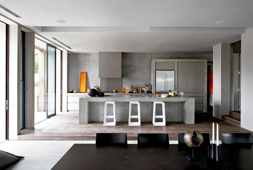 Идеи дизайна кухни - бетонные стены в интерьере