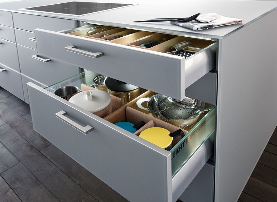 Выдвижная система хранения на кухне
