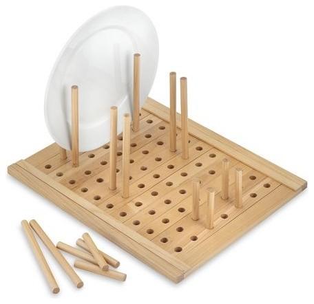 Деревянная подставка с переносными палочками-границами для посуды