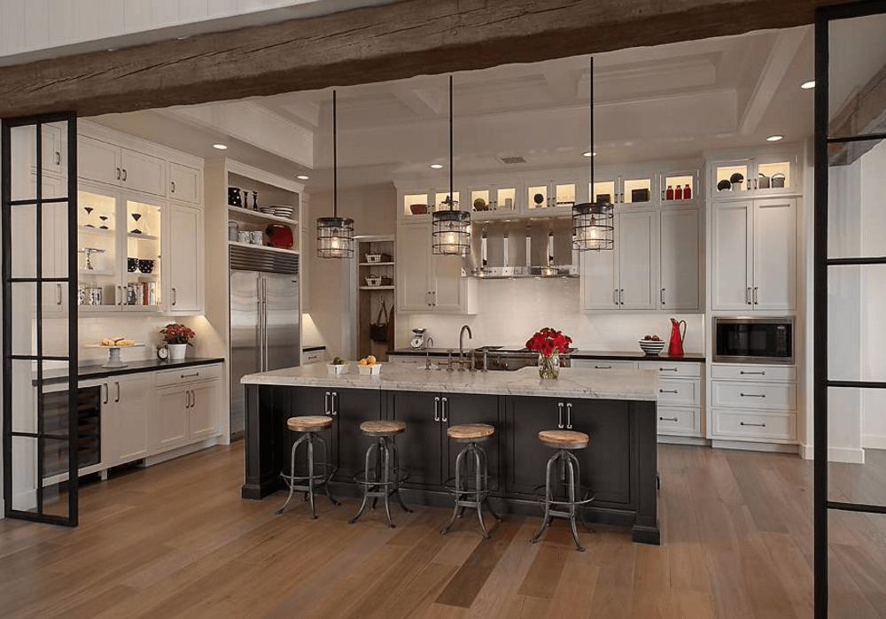 Идея освещения кухни лампочками в шкафчиках