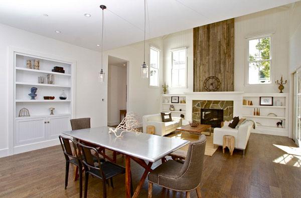 Элегантный дизайн стального стола в интерьере гостиной