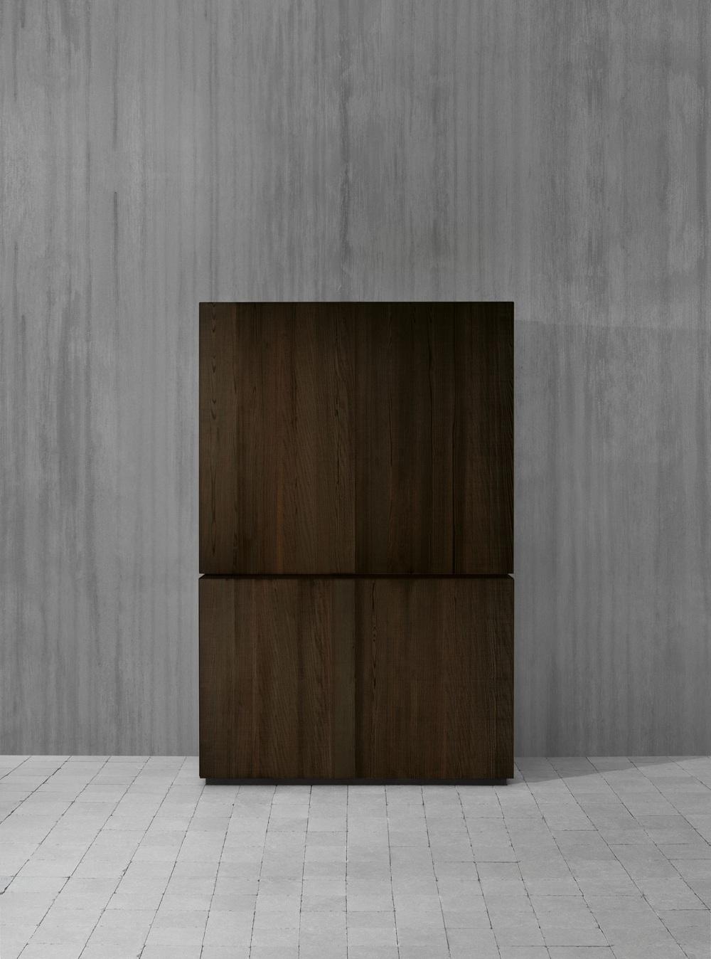 Индустриальный стиль в интерьере кухни: деревянный шкаф