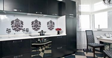 Стильный дизайн интерьера совремонной кухни в чёрно-белой гамме от Елены Казаковой