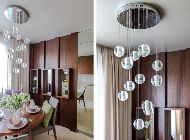 Фотоколлаж: оригинальный подвесной светильник из множества стеклянных шаров