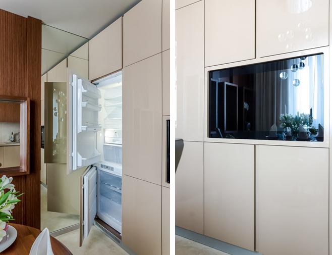 Фотоколлаж: встроенная техника в светлом кухонном гарнитуре
