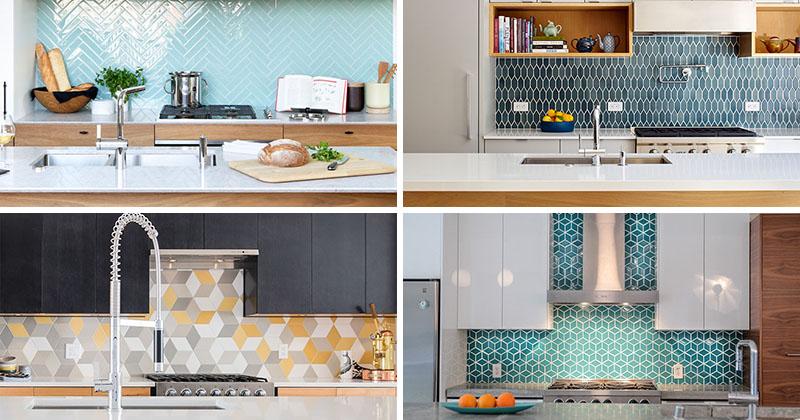 Стильные варианты кухонных фартуков с геометрическим орнаментом