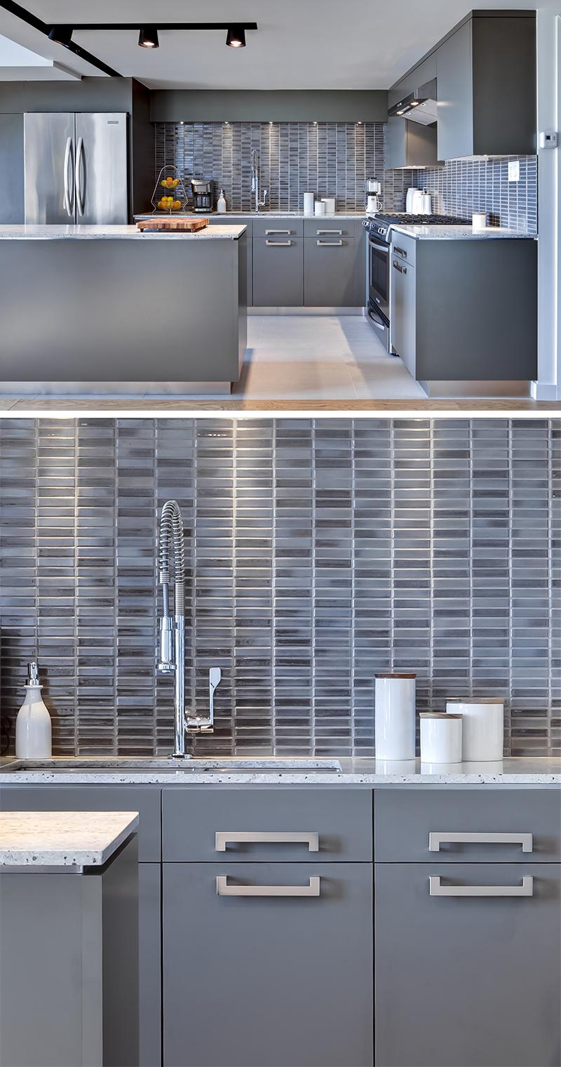 Варианты кухонных фартуков, облицованных узкими прямоугольными плитками