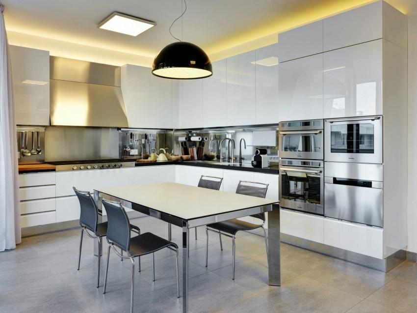 Роскошный интерьер белой кухни - Фото 7