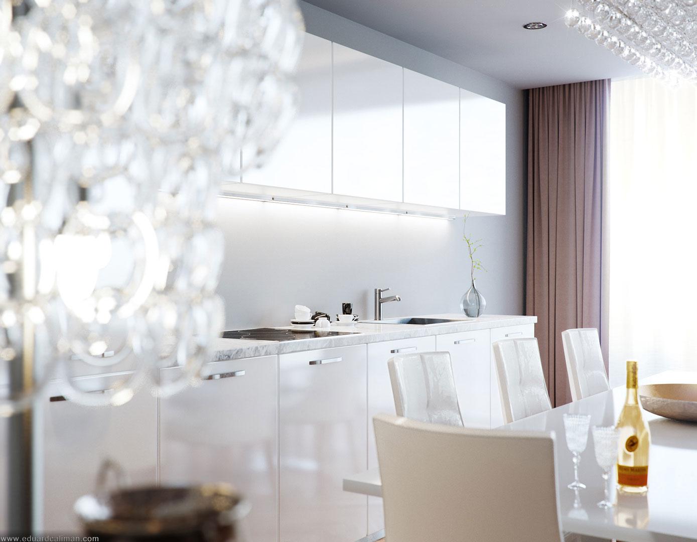 Роскошный интерьер белой кухни - Фото 38