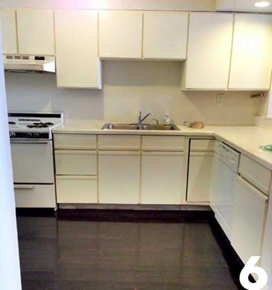Интерьер чёрно-белой кухни: помещение до ремонта