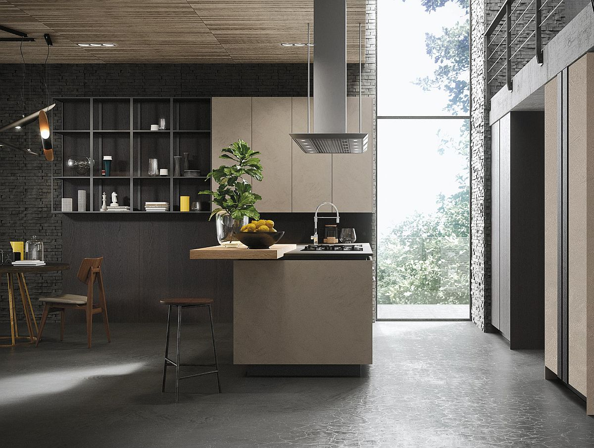 Серо-бежевый кухонный остров в интерьере кухни