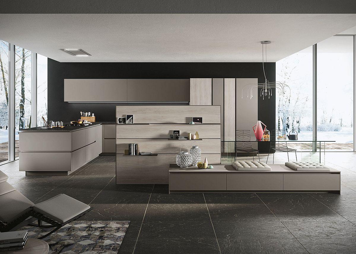 Чёрная плитка на полу в интерьере кухни