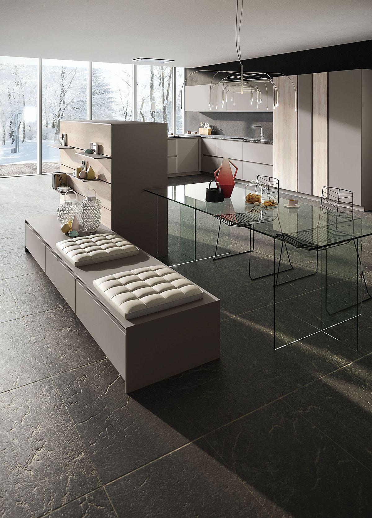 Стеклянный столик в интерьере кухни