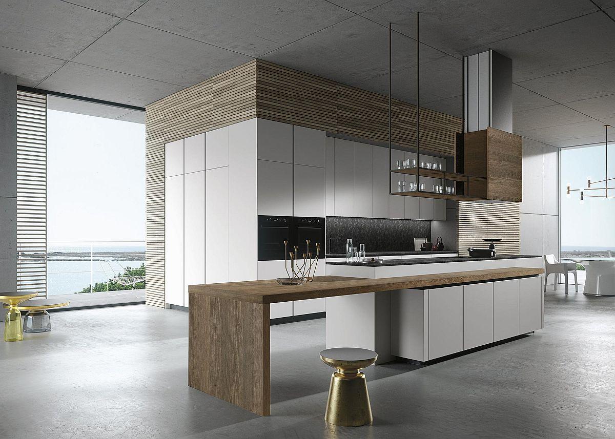 Золотистый стульчик в интерьере кухни