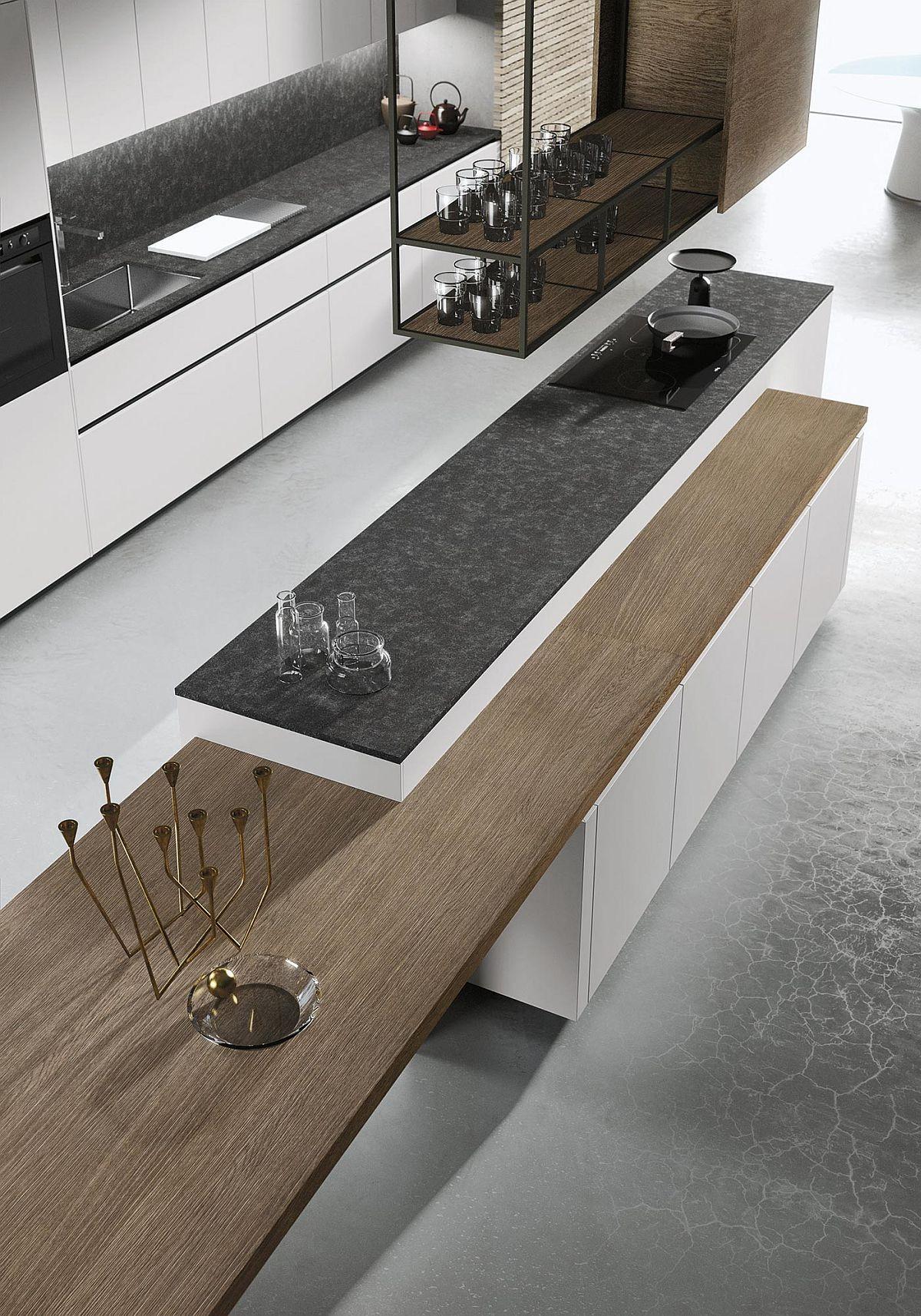 Чёрная столешница в интерьере кухни