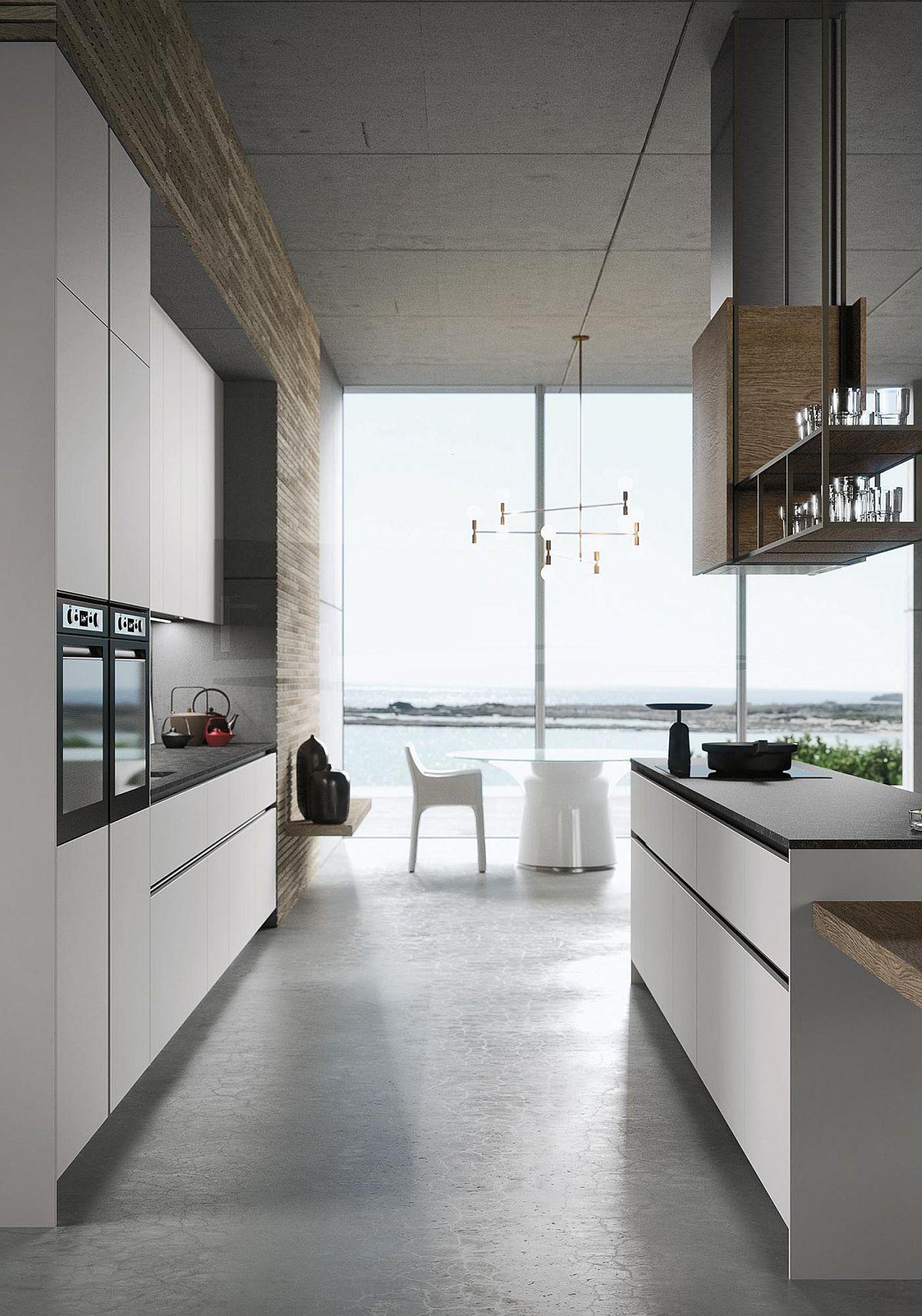 Оригинальная белая мебель в интерьере кухни