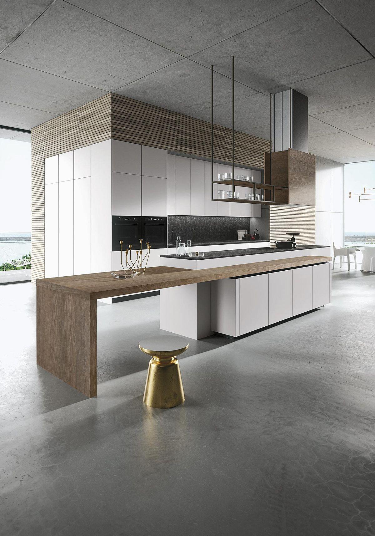 Серый бетонный потолок в интерьере кухни