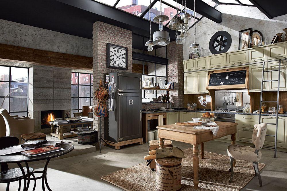 Кухня в винтажном стиле со стеклянным потолком