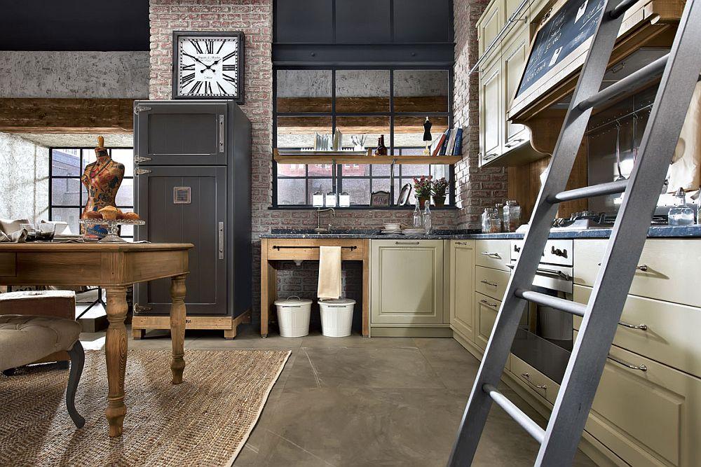 Кухня в винтажном стиле: стильные часы на стен