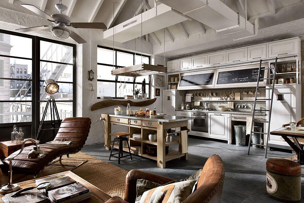 Кухня в винтажном стиле: большие панорамные окна