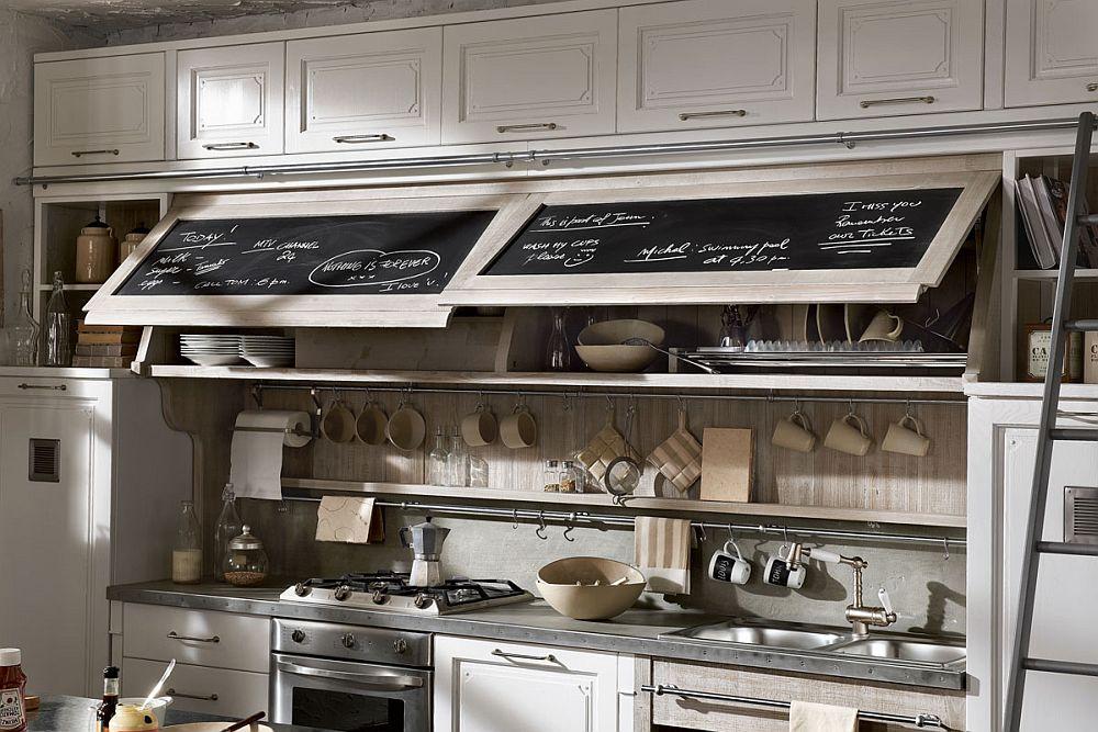 Кухня в винтажном стиле: набор посыды бежевого цвета