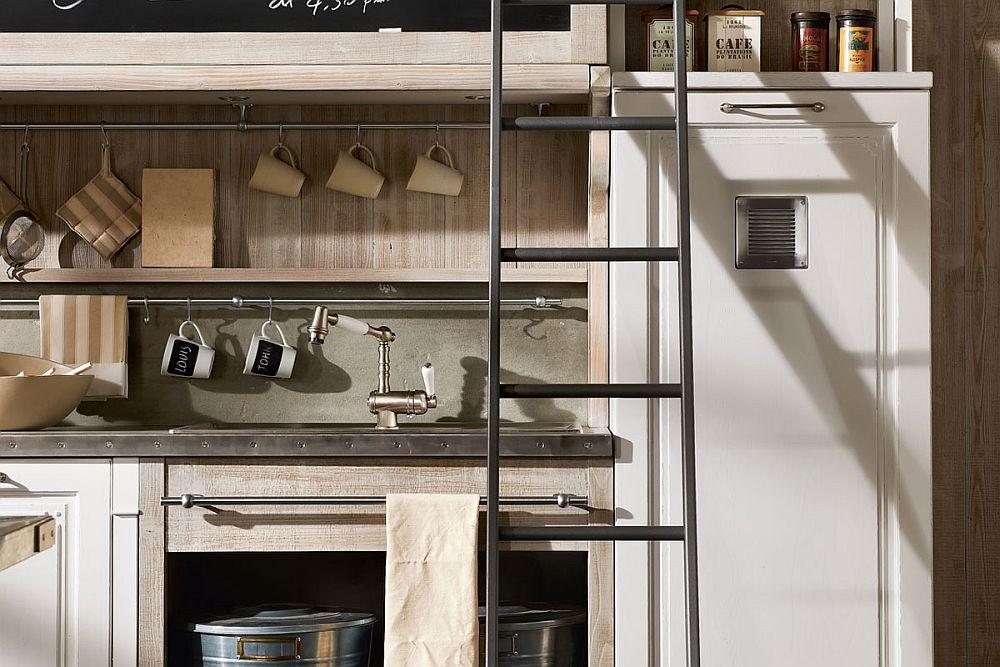 Кухня в винтажном стиле: открытые полки для посуды