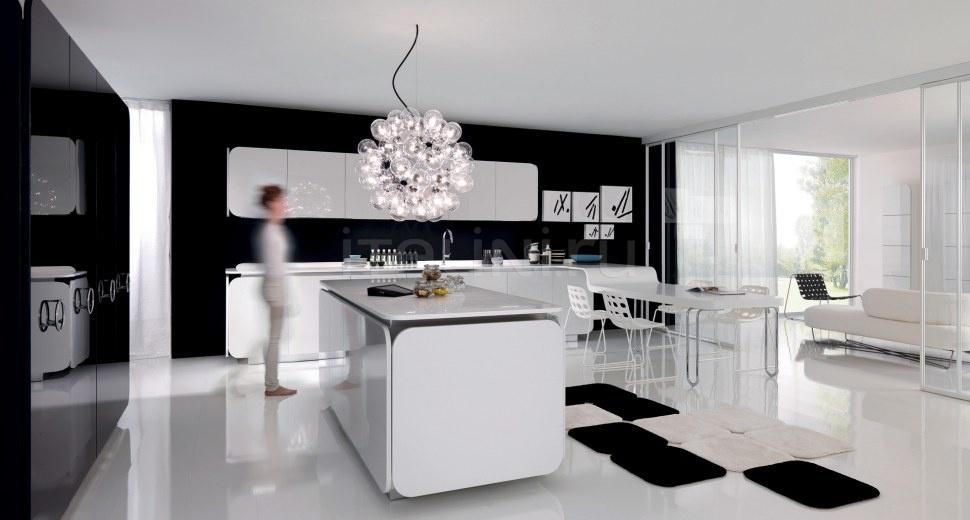 Необычный дизайн глянцевой кухни IT-IS в чёрно-белой гамме