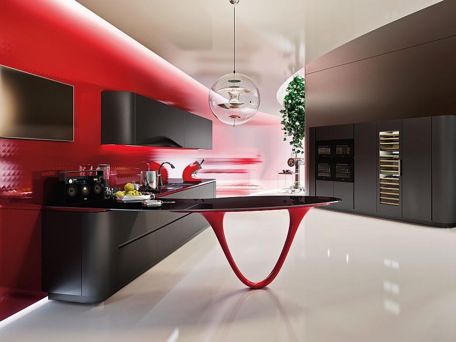 Необычный дизайн минималистского интерьера кухни Ferrari в красно-чёрной гамме