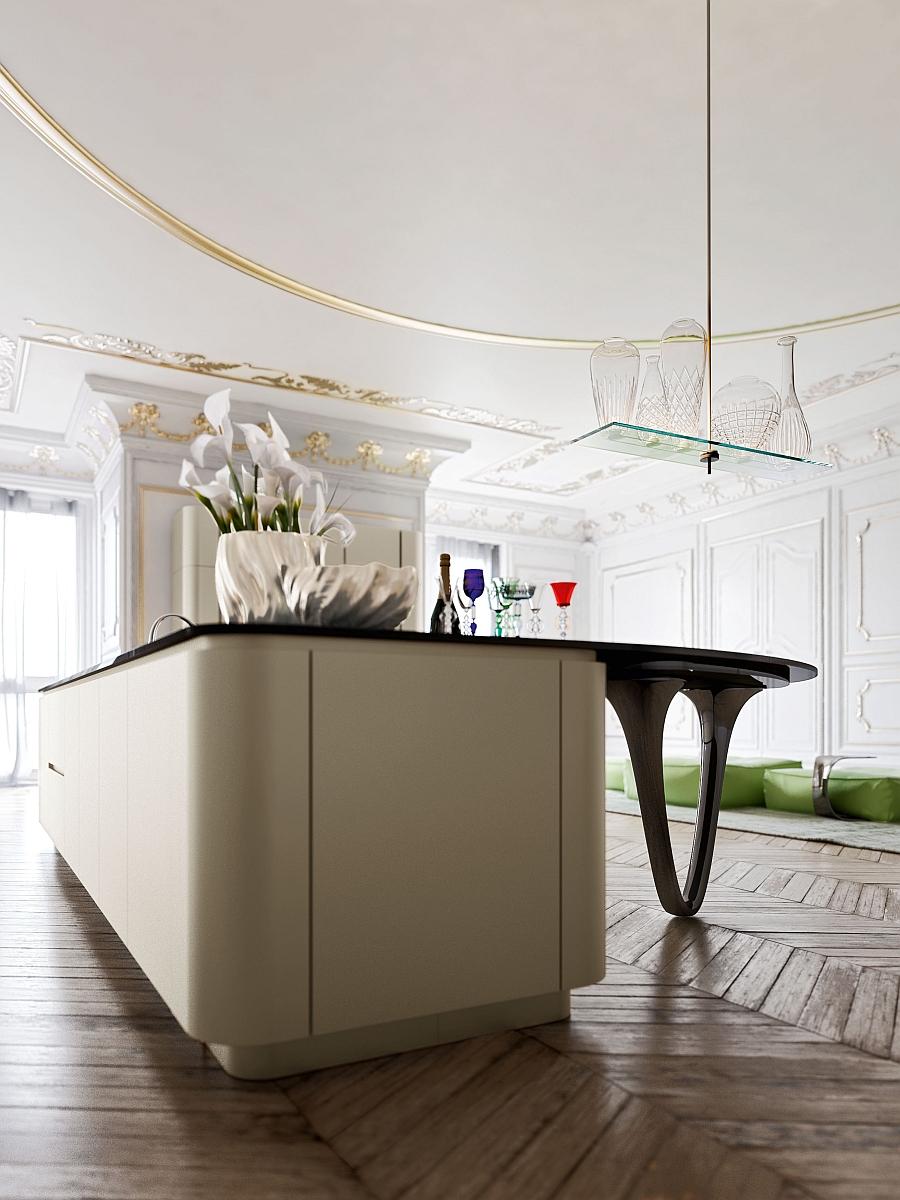 Необычный дизайн минималистского интерьера кухни Ola 25