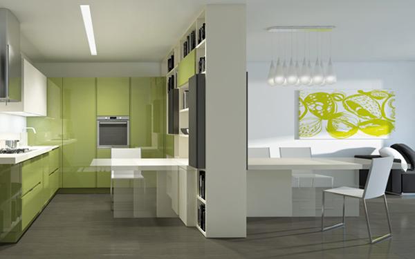 Салатовая итальянская кухонная мебель