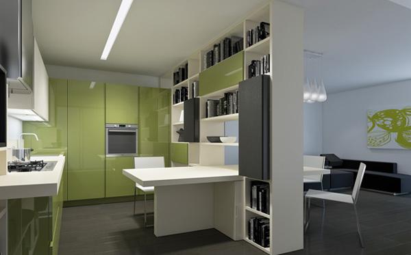 Итальянская кухонная мебель: открытые белые полки