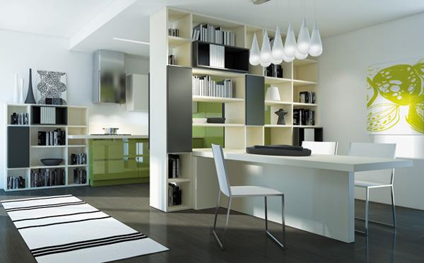 Итальянская кухонная мебель: массивный белый стол
