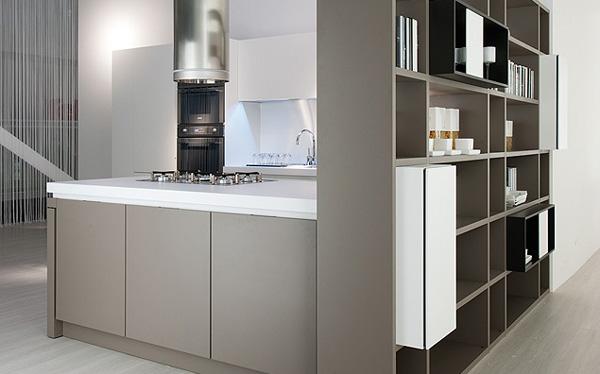Итальянская кухонная мебель: серый гарнитур